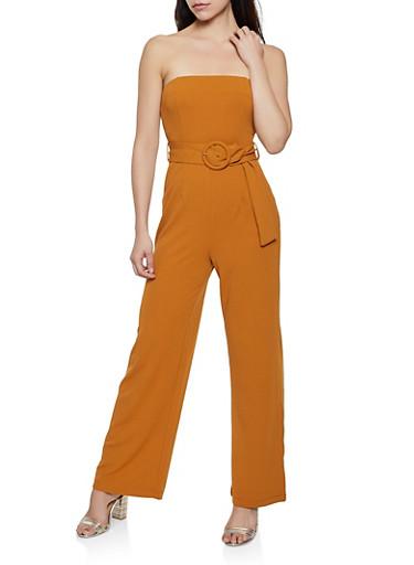 Crepe Knit Belted Jumpsuit,CAMEL,large