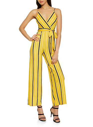 Striped Faux Wrap Cami Jumpsuit,MUSTARD,large