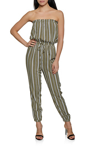 Striped Tube Jumpsuit | 1408069397347,OLIVE,large