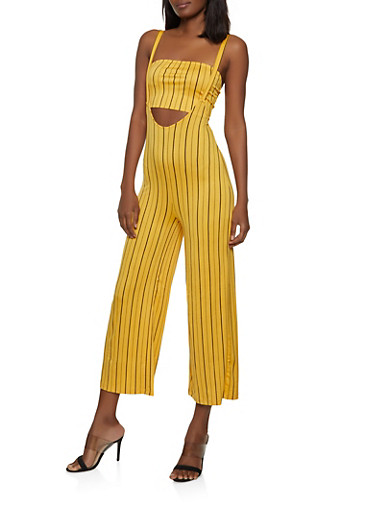 Striped Suspender Pants with Bandeau Top,MUSTARD,large