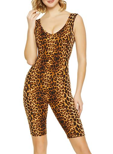 Leopard Capri Catsuit,BROWN,large