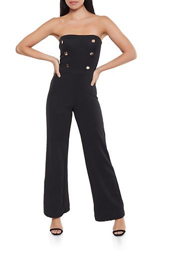 Strapless Sailor Jumpsuit,BLACK,large