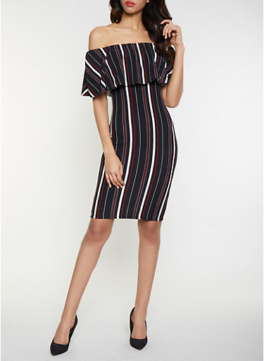 Striped Off the Shoulder Dress,RED,large