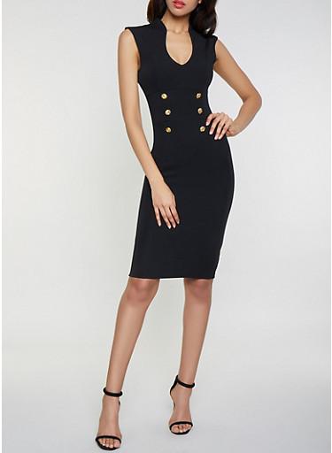 Faux Button Detail Bodycon Dress,BLACK,large