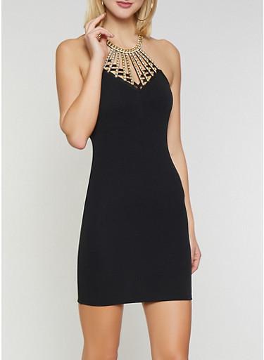 Beaded Neck Bodycon Dress,BLACK,large