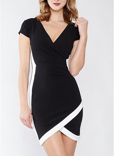 Faux Wrap Contrast Trim Dress,BLACK/WHITE,large