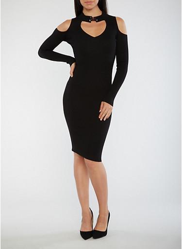 Ribbed Knit Keyhole Midi Dress,BLACK,large