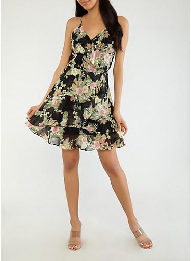 Ruffle Floral Faux Wrap Dress,BLACK,large