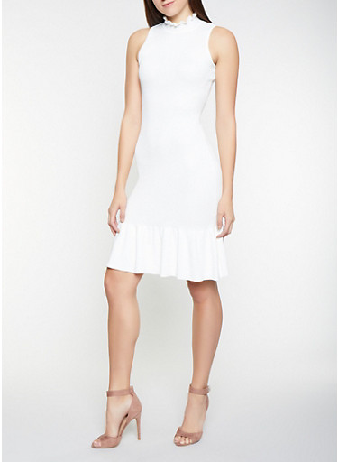 Ribbed Knit Trumpet Sweater Dress,IVORY,large