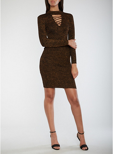 Ribbed Knit Shimmer Bodycon Dress,BRONZE,large