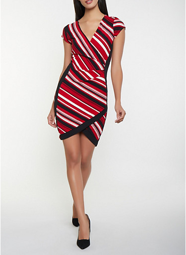 Striped Faux Wrap Dress,RED,large