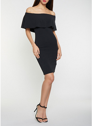 Solid Off the Shoulder Midi Dress,BLACK,large