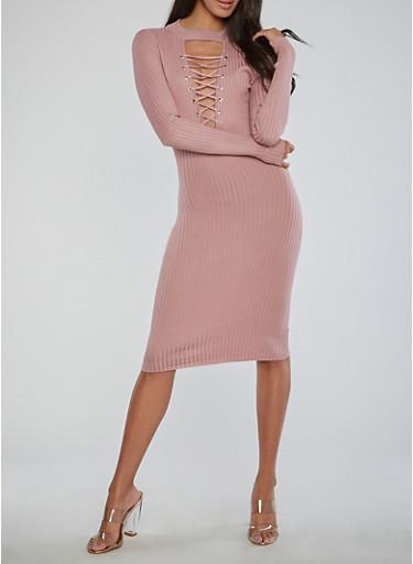 Lace Up Keyhole Ribbed Knit Dress,MAUVE,large