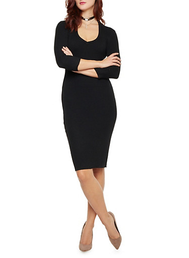 Mid Length T Shirt Dress with Back Cutout,BLACK,large