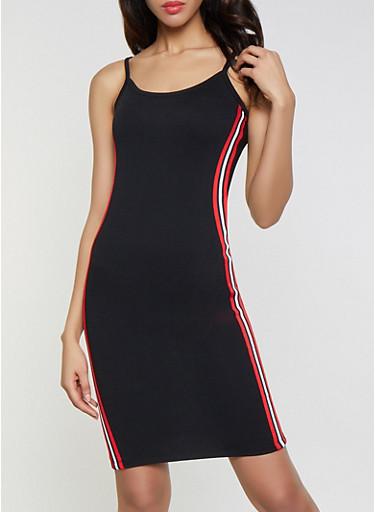 Striped Tape Trim Bodycon Dress,BLACK,large
