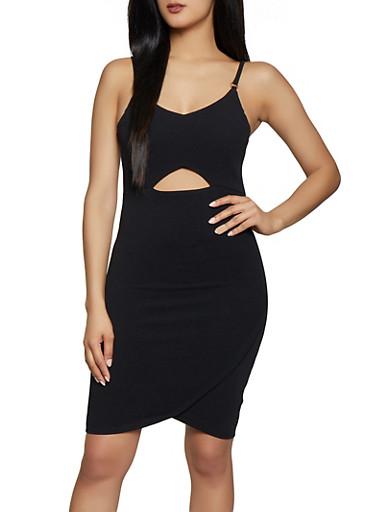 Keyhole Bodycon Dress,BLACK,large