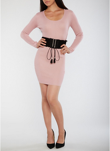 Ribbed Knit Bodycon Dress with Corset Belt,MAUVE,large