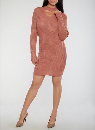 Choker Neck Chunky Knit Sweater Dress,MAUVE,large