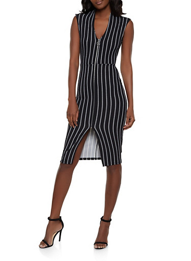 Striped Zip Front Dress,BLACK/WHITE,large