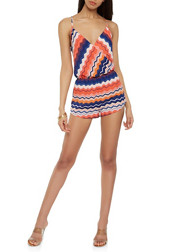 Printed Faux Wrap Romper,RED,large