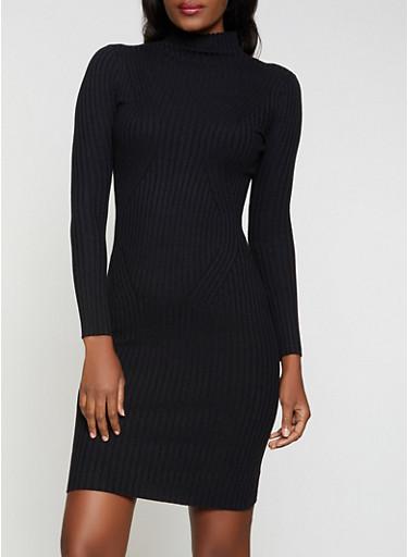 Ribbed Turtleneck Sweater Dress,BLACK,large