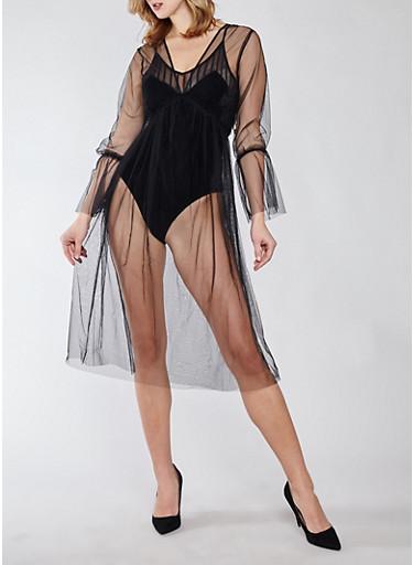 Mesh Bell Sleeve Dress,BLACK,large