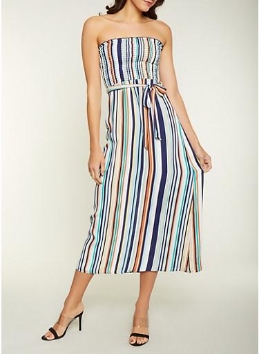 Striped Crepe Knit Maxi Dress,NAVY,large