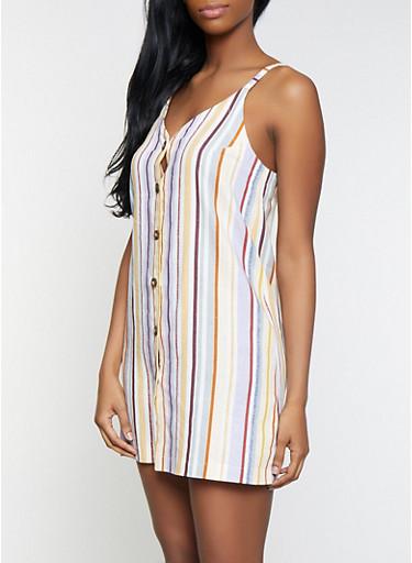 Sleeveless Striped Shirt Dress,IVORY,large