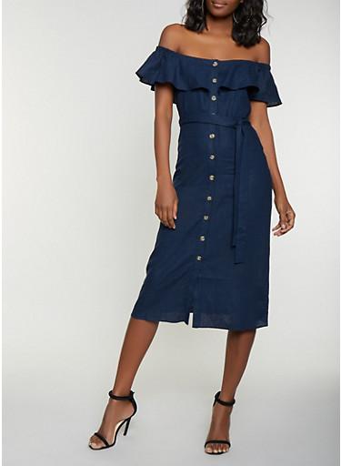 Off the Shoulder Linen Shirt Dress,NAVY,large