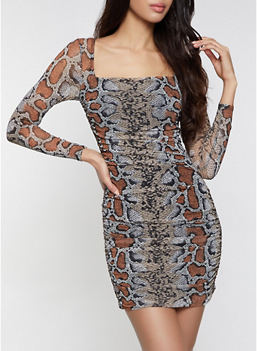 Snake Print Mesh Bodycon Dress,BROWN,large