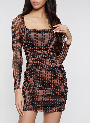 Geometric Print Mesh Bodycon Dress,BROWN,large