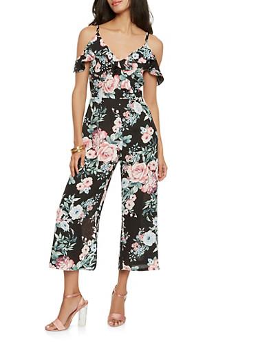 Floral Off the Shoulder Cropped Jumpsuit | Tuggl