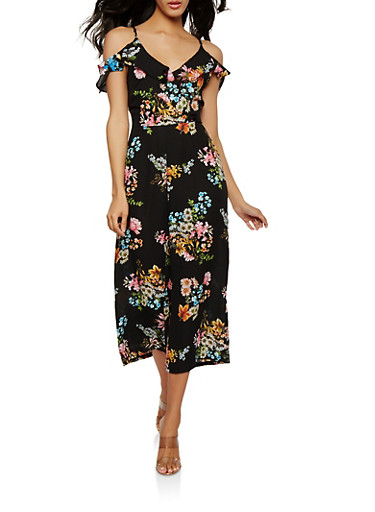 Off the Shoulder Floral Cropped Jumpsuit,BLACK,large
