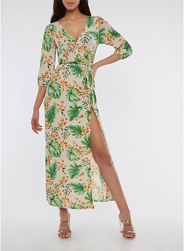 Floral Faux Wrap Maxi Dress,MUSTARD,large