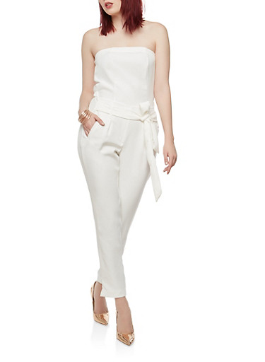 Strapless Tie Front Jumpsuit,OFF WHITE,large