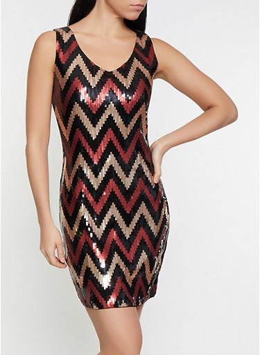 Chevron Sequin Dress,WINE,large