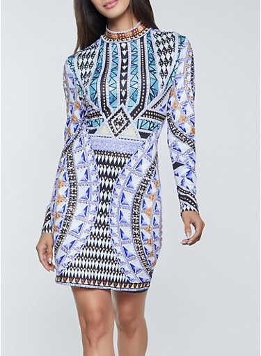Studded Printed Bodycon Dress,BLUE,large