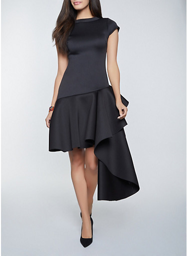 Scuba Knit Asymmetrical Dress,BLACK,large