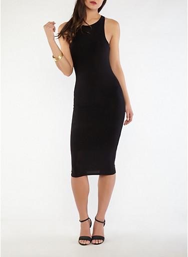 Knit Mid Length Tank Dress,BLACK,large