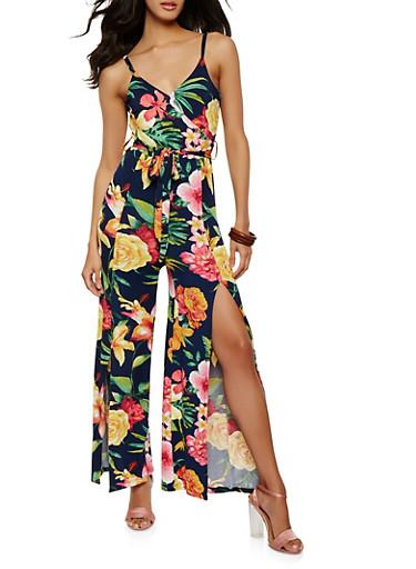 Belted Floral Slit Leg Jumpsuit,NAVY,large