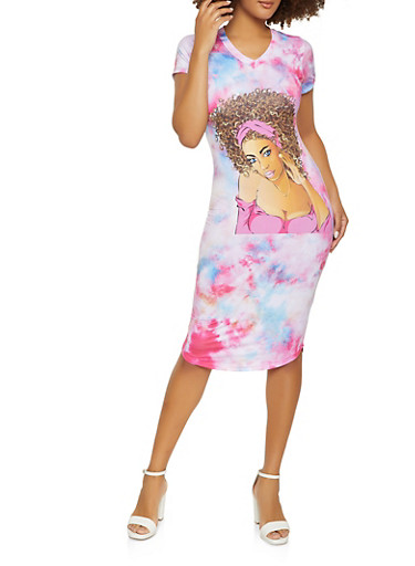 Face Graphic Tie Dye T Shirt Dress,PINK,large