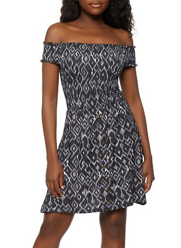 Printed Button Detail Off the Shoulder Dress,BLACK,large