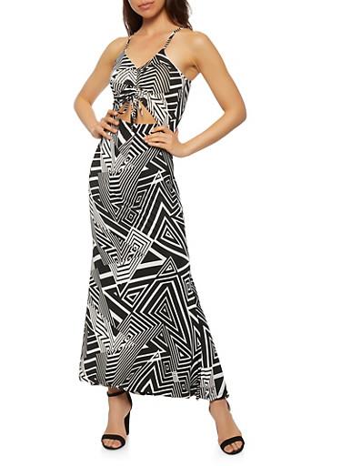 Keyhole Front Cami Maxi Dress,BLACK/WHITE,large