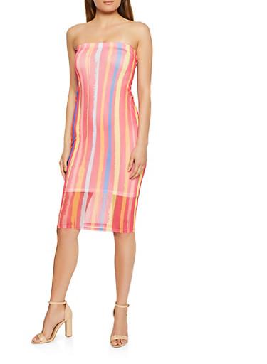 Striped Mesh Tube Dress,RED,large