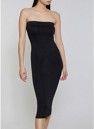 Crepe Knit Tube Dress,BLACK,large