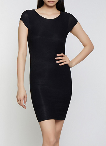 Crepe Knit Bodycon Dress,BLACK,large