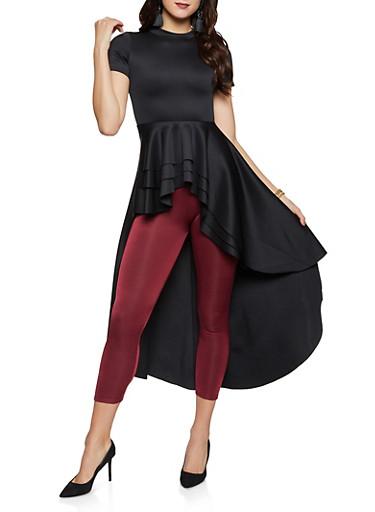 Scuba Knit High Low Peplum Top,BLACK,large