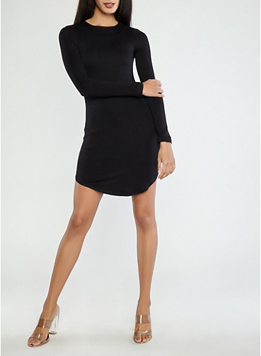 Long Sleeve Bodycon Dress,BLACK,large