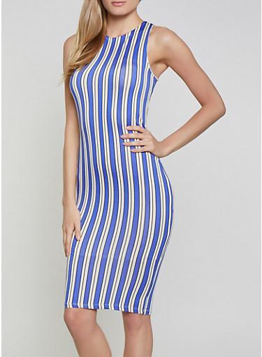 Striped Bodycon Dress | 1410062707120,RYL BLUE,large
