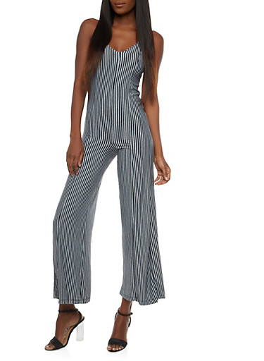 Sleeveless Striped Jumpsuit,GRAY,large